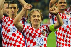 Midfielder of the national team of Croatia Luka Modric. KYIV, UKRAINE - OCTOBER 9, 2017: Midfielder of the national team of Croatia Luka Modric during the match Royalty Free Stock Image