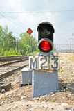 Midget rout traffic-light. Regulative motion of trains device on railway ways Royalty Free Stock Images