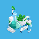Midgets And Medication Concept. Conceptual background with pharmacy medication images of drug production chemists figures carrying blister cards of pills vector Stock Photography