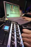 Midi Controller - DJ 2. DJ performance with midi controller and laptop royalty free stock images