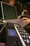 Midi Controller - DJ 8. DJ performance with midi controller and laptop Stock Photo