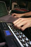 Midi Controller - DJ 9. DJ performance with midi controller and laptop Royalty Free Stock Photos