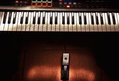 Midi Controller and Sustain Pedal Stock Photo