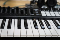 MIDI keyboard synthesizer piano keys Royalty Free Stock Photography