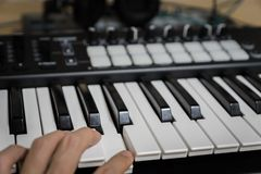 MIDI keyboard synthesizer piano keys Royalty Free Stock Image