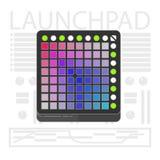 Midi launchpad controller. Flat line art. Launchpad midi controller. Flat line art illustration Vector Illustration