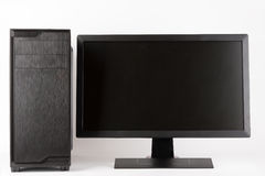 Midi tower computer case with led monitor on white background. Midi tower computer case with led monitor on white background, new, modern gaming PC Stock Photo