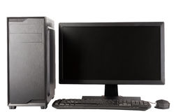 Midi tower computer case with led monitor on white background. Midi tower computer case with led monitor on white background, new, modern gaming PC Stock Images