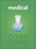 Midical icons set with vitro polygon style Royalty Free Stock Photo