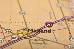 Midland, Τέξας στο χάρτη Στοκ Εικόνες