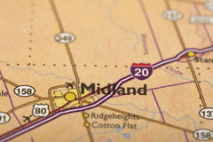 Midland, Техас на карте стоковое фото