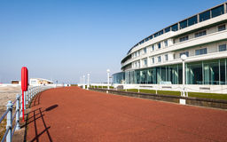 The Midland Hotel, Morecambe, Lancashire, UK. The rear of The Midland Hotel, Morecambe, Lancashire in the North West of England facing the promenade and seafront stock photo