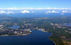Midland Ontario, aerial. Aerial view of the Midland Ontario located on the Georgian Bay stock image