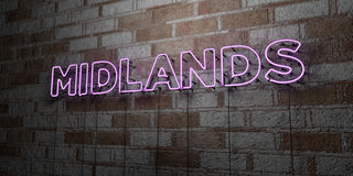 MIDLANDS - Glowing Neon Sign on stonework wall - 3D rendered royalty free stock illustration Royalty Free Stock Photography