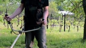Midle变老了使用灌木清除机的人 成熟人在庭院里 概念从事园艺 影视素材