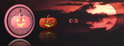 Midnatt allhelgonaaftonbakgrund med kopieringsutrymme och röd suddighetsspöke Royaltyfria Bilder