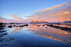 Midnatt sol Fotografering för Bildbyråer