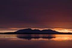 Midnatt sol Arkivfoto