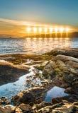 Midnatt sol nära Alta, Norge royaltyfri fotografi
