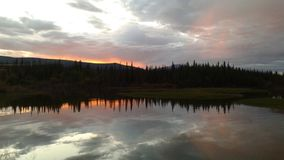 Midnatt solnedgång Arkivbilder