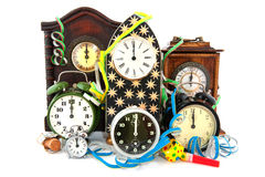 Midnight. Twelve O'Clock with fireworks at new years eve Royalty Free Stock Photo