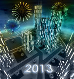 Midnight 2013 celebration over modern business city Royalty Free Stock Photo