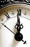 Almost midnight. Antique clock hands showing midnight Royalty Free Stock Image
