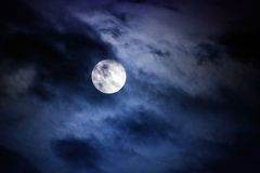 Midnight. Moon at midnight with clouds covering the moon slightly Royalty Free Stock Photography
