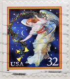 Midnight angel, holiday. A stamp printed in USA shows midnight angel, holiday stock images