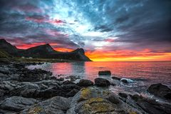 Midnight in August. Shot at Myrland in Flakstad, Lofoten island a beautifull night in August stock image