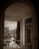 Midnight Bride 10. Beautiful bride reflecting on bench Royalty Free Stock Photo