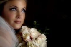 Midnight Bride. Beautiful bride in lowkey lighting Stock Photo