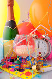 Midnight Celebrations. Photograph of alarm clock dentures fizzy drink and Balloon Stock Photography