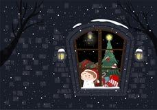 Midnight On Christmas Eve vector illustration