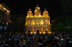 Midnight Church in Beijing moonlight Stock Photography