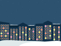 Midnight City, Real Estate, Winter Theme. Midnight City, Colorful Buildings, Real Estate, Winter Theme stock illustration