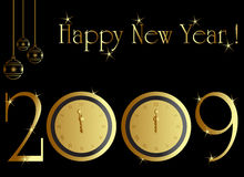 Midnight clock 09. New year card with midnight clock Stock Images