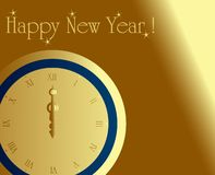 Midnight clock. New year card with midnight clock Royalty Free Stock Image