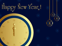 Midnight clock. New year card with midnight clock Royalty Free Stock Photography