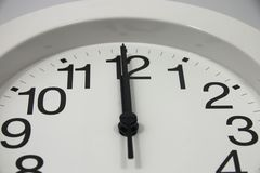 Midnight Clock Close Up. Close up on an analog clock at 12 o'clock - midnight, noon, lunch or whatever Stock Photo