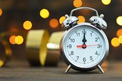 Midnight clock. Happy New Year. Card royalty free stock image