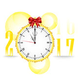 Midnight clock and Happy New Year 2017 vector background. Merry Christmas and Happy New year card on white background Stock Images