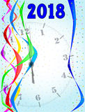 Midnight On 2018. A clock showing midnight 2018 with streamers and confetti Stock Image