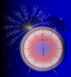 Midnight. A clock at midnight with a sky rocket firework Royalty Free Stock Photo