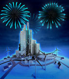 Midnight firework celebration above modern cityscape Stock Photos