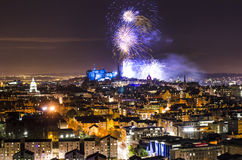 Midnight fireworks over Edinburgh castle Stock Images