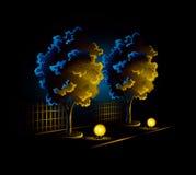 Midnight garden avenue with two trees. And lighting lanterns vector illustration stock illustration