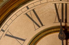 Midnight hour. Close up of antique clock Royalty Free Stock Photo