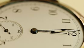Midnight Hour. Face of an antique pocket watch with time of twelve o'clock. Concept of deadline or midnight hour Stock Photos