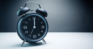 Midnight Hour on a Retro Alarm Clock Stock Images